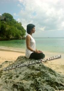 meditation at sea shore