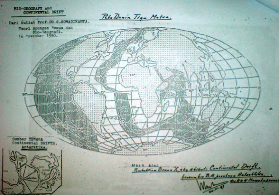 peta dunia tiga matra